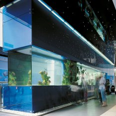 Sea aquariums and glass frontages, shopping mall Galerie Butovice, Prague 5